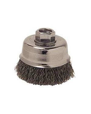 "Weiler 3"" Crimped Wire Cup Brush, .014"" Steel F"